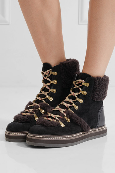 4616100cc793 See By Chloé. Shearling-trimmed suede ankle boots