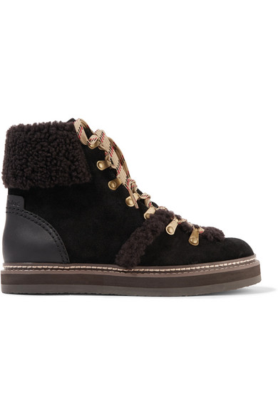 3c59340ddf Shearling-trimmed suede ankle boots