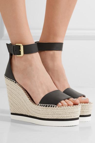 7d7e3e73618 Leather espadrille wedge sandals
