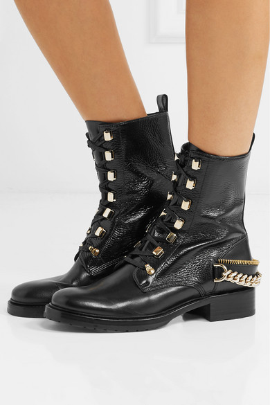 e272165a343 Lanvin. Embellished glossed smooth and textured-leather ankle boots
