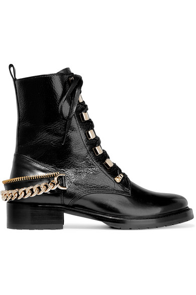 Lanvin - Embellished Glossed Smooth And Textured-leather Ankle Boots - Black at NET-A-PORTER
