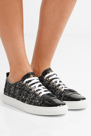 Lanvin Patent leather-trimmed tweed sneakers