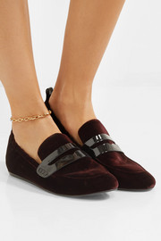 Lanvin Patent leather-trimmed velvet loafers
