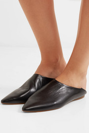Amina collapsible-heel leather slippers