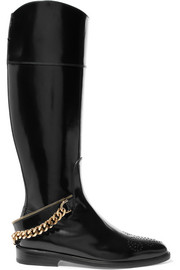 Chain-embellished glossed-leather knee boots