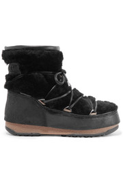 Shearling and coated-suede snow boots