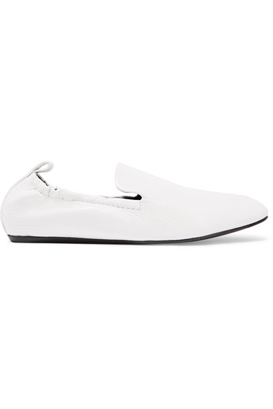 Lanvin - Glossed Textured-leather Loafers - White at NET-A-PORTER