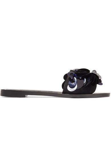 Lanvin - Sequined Leather Slides - Black at NET-A-PORTER