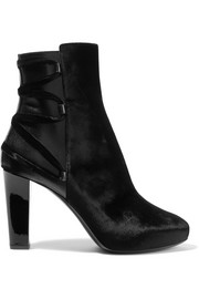 Lanvin Lace-up leather-trimmed velvet ankle boots