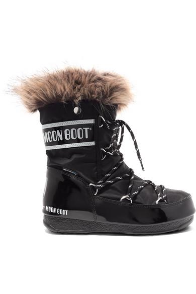 Monaco faux fur-trimmed shell-piqué and faux leather snow boots
