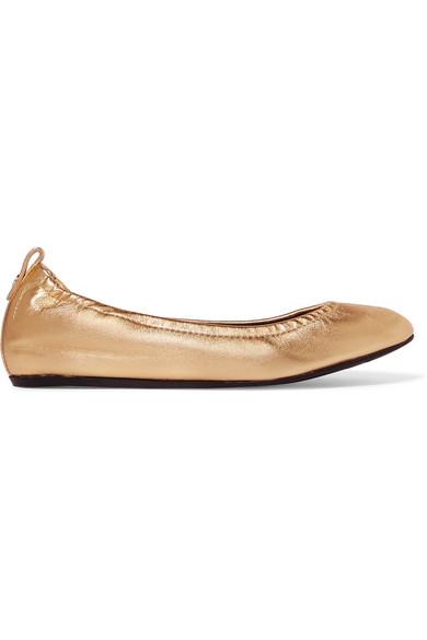 Lanvin - Metallic Leather Ballet Flats - Gold at NET-A-PORTER