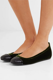 Lanvin Leather-trimmed velvet ballet flats