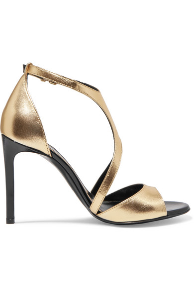 Lanvin - Harnais Metallic Leather And Patent-leather Sandals - Gold at NET-A-PORTER