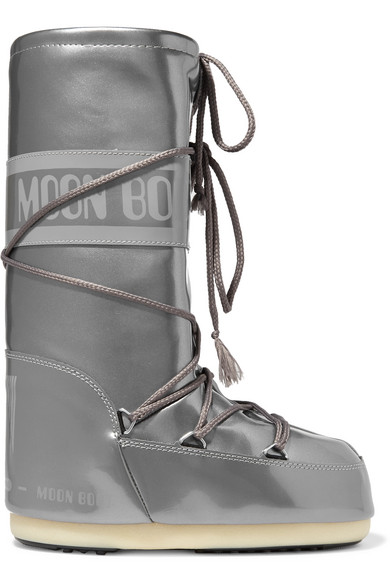 Moon Boot - Metallic Vinyl Boots - Silver