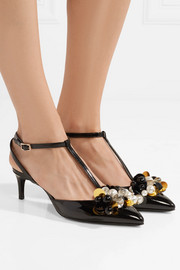 Lanvin Embellished patent-leather pumps
