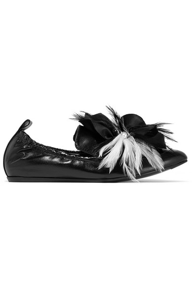 Lanvin - Embellished Glossed-leather Loafers - Black