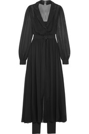 Karl Lagerfeld Satin-trimmed silk-chiffon wrap-effect midi dress