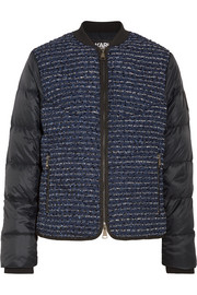 Karl Lagerfeld Bouclé and quilted shell bomber jacket