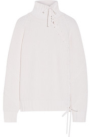 Karl Lagerfeld Lace-up ribbed-knit turtleneck sweater