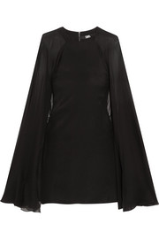 Karl Lagerfeld Cape-effect stretch-silk satin and silk-chiffon mini dress