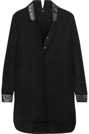 Karl Lagerfeld Leather-trimmed silk tunic