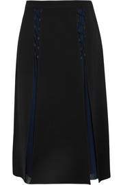 Karl Lagerfeld Layered crepe and pleated georgette midi skirt