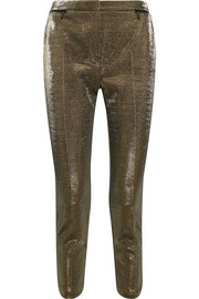 Karl Lagerfeld Cropped cotton-blend lamé slim-leg pants