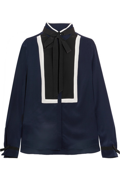 Karl Lagerfeld - Pussy-bow Silk Blouse - Navy