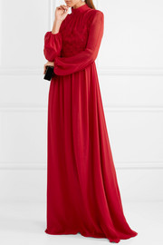Lace and silk-chiffon gown