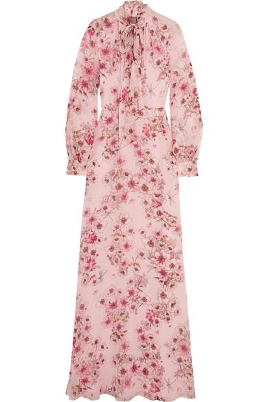 Giambattista Valli - Pussy-bow Floral-print Silk-georgette Gown - Pink
