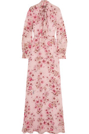 Pussy-bow floral-print silk-georgette gown