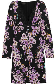 Giambattista Valli Lace-trimmed floral-print silk-crepe mini dress