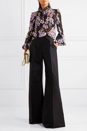 Pussy-bow ruffled floral-print silk-chiffon blouse