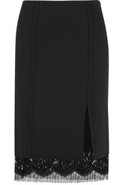 Giambattista Valli Lace-trimmed crepe skirt