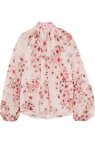 Giambattista Valli - Guipure Lace-trimmed Floral-print Silk-georgette Blouse - Pink