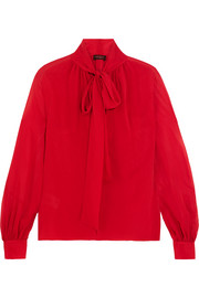 Giambattista Valli Pussy-bow silk-georgette blouse