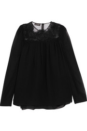 Guipure lace-trimmed silk-chiffon blouse