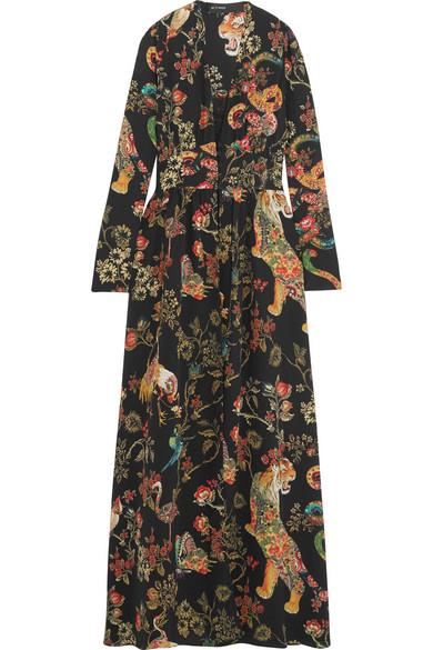 Printed silk-crepe gown