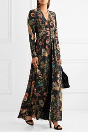 Printed silk-crepe gown