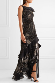 Ruffled devoré satin and silk-chiffon gown
