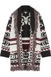 Fringed wool-jacquard cardigan