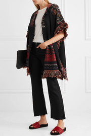 Fringed hooded wool-blend jacquard-knit jacket