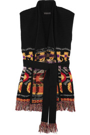 Etro Belted fringed wool-blend gilet