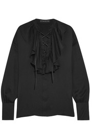 Ruffled lace-up silk-jacquard blouse