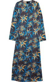 Printed satin maxi dress