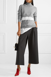 Marni Paneled knitted and poplin turtleneck sweater