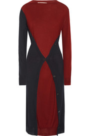 Marni Asymmetric two-tone wool midi dress