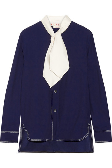 Marni - Pussy-bow Crepe Blouse - Navy