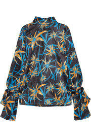 Printed satin turtleneck top