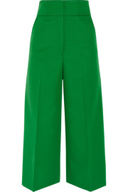 Cropped gabardine wide-leg pants